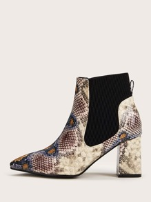 Point Toe Snakeskin Chunky Chelsea Boots