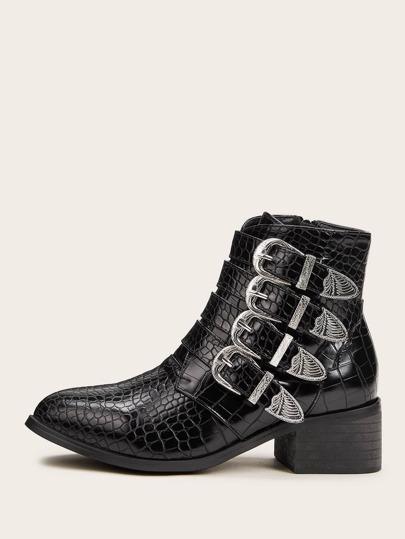 Buckle Decor Croc Embossed Boots