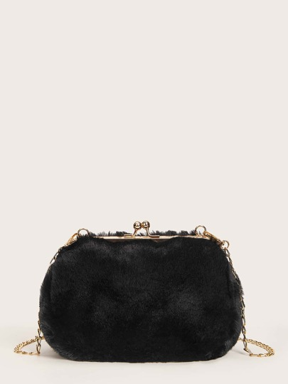 Faux Fur Kiss Lock Chain Crossbody Bag