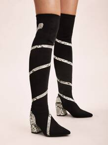 Snakeskin Panel Over The Knee Block Boots