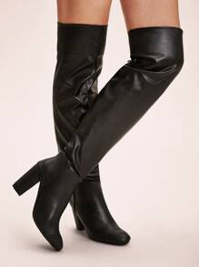 Over The Knee Faux Leather Chunky Boots