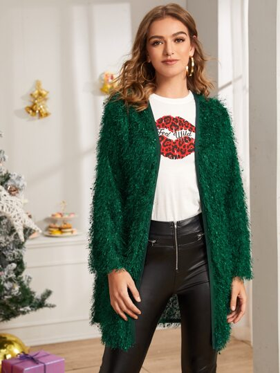 Mohair Open Front Fluffy Coat