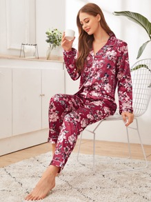 Floral Print Satin PJ Set