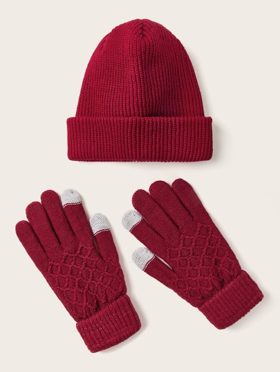 3pcs Christmas Simple Knit Beanie & Gloves