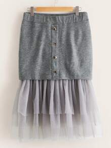 Plus Mesh Panel Layered Hem Skirt