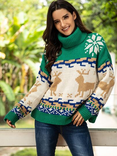 High Neck Christmas New Year Print Sweater
