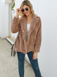 Lapel Neck Slant Pocket Teddy Coat