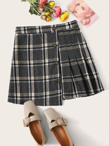 Button Front Pleated Side Plaid Skirt