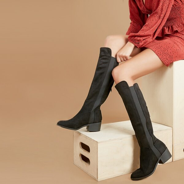 Almond Toe Stacked Heel Boots, Black