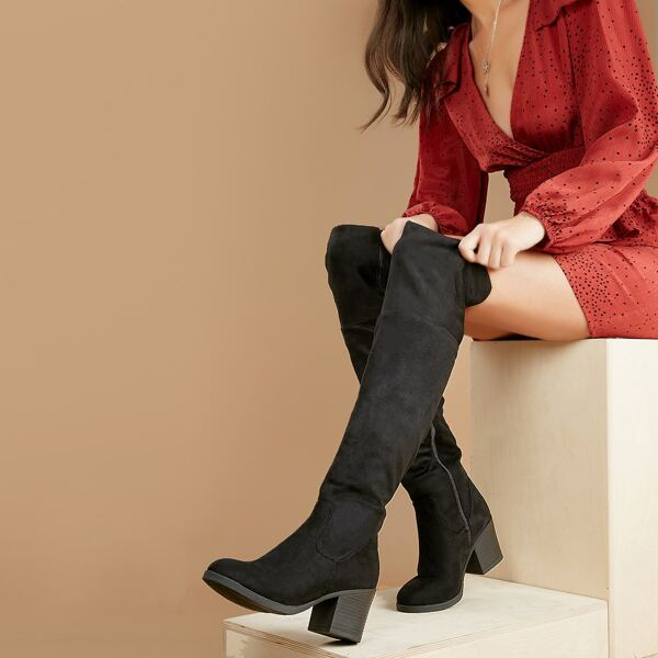 Almond Toe Over The Knee Stacked Heel Boots, Black