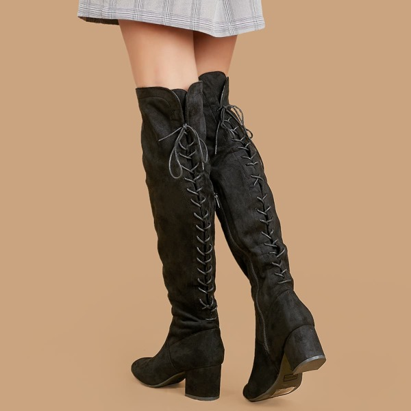 Lace Up Back Over The Knee Chunky Heel Boots, Black