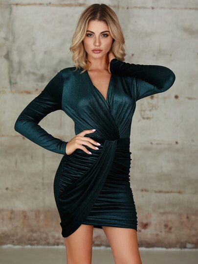 Double Crazy Ruched Bodycon Dress