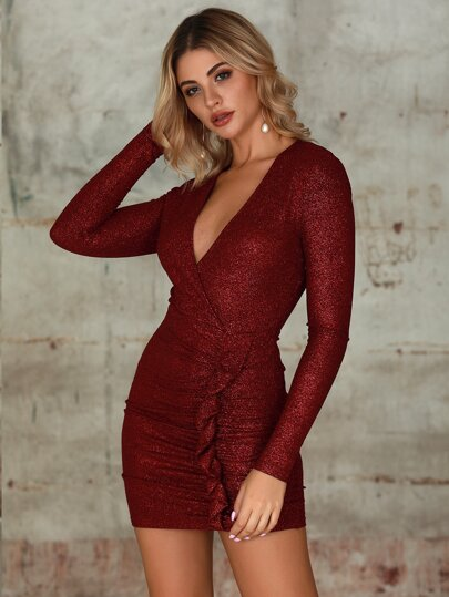 Double Crazy Deep V Neck Ruffle Ruched Glitter Dress