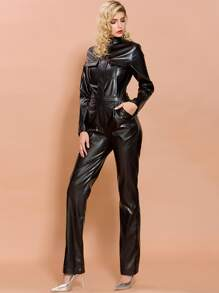 Missord Flap Pocket Front Leather Look Jumpsuit
