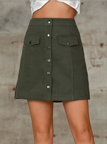 Double Crazy Solid Button Front Zip Back Skirt