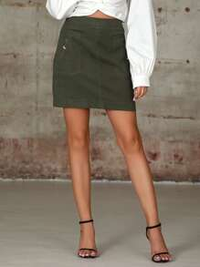 Double Crazy Solid Zip Detail Skirt