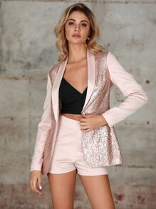Double Crazy Shawl Collar Sequin Blazer & High Waist Short Set