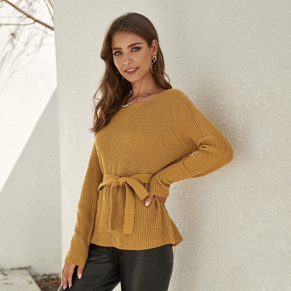 Self Belted Rib-knit Sweater, Camel