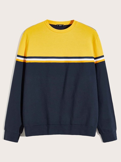 Guys Striped Tape Detail Colorblock Pullover