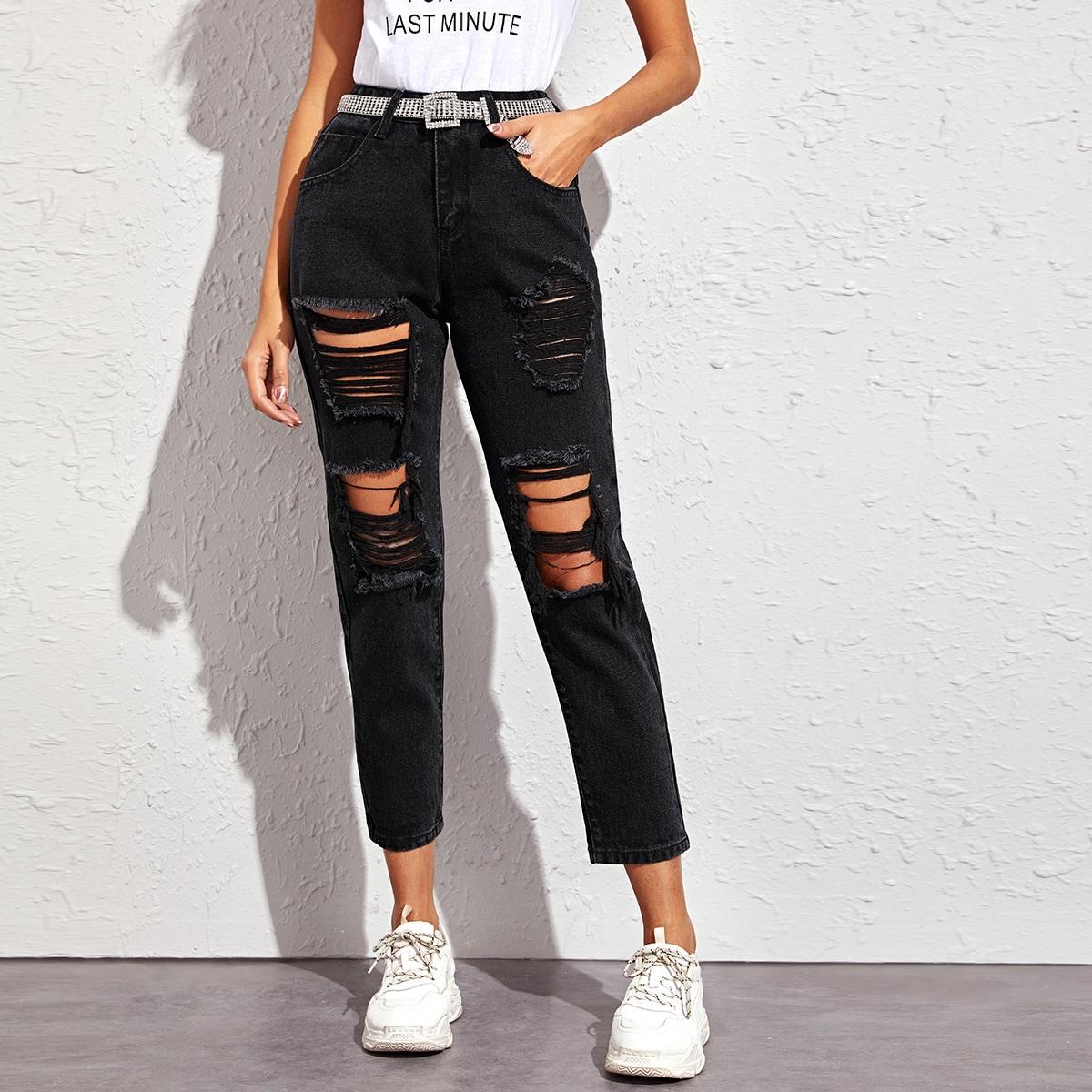 Рваные джинсы с карманом без пояса