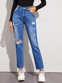 Ripped Washed Pocket Side Boyfriend Jeans