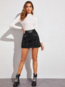 Pearls Button Fly Straight Denim Skirt Without Belted