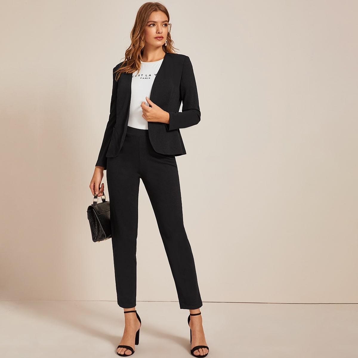 Однотонный пиджак и брюки