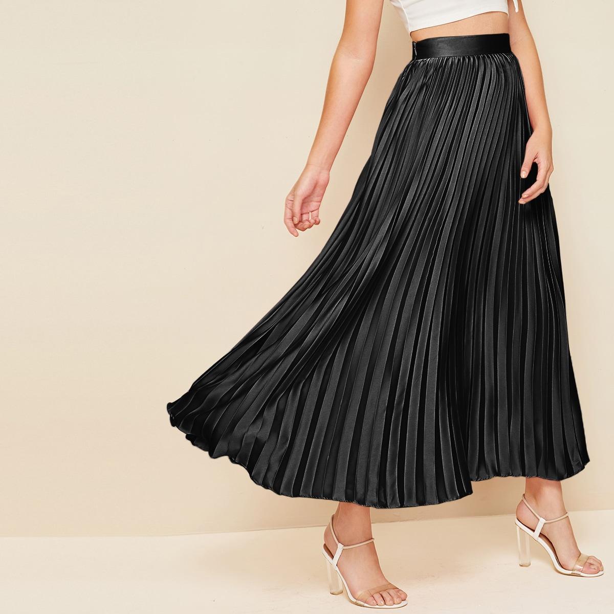 Плиссированная длинная юбка с молнией