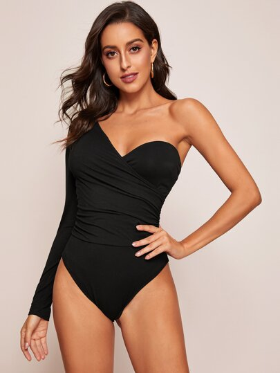 One Shoulder Ruched Detail Wrap Fitted Bodysuit