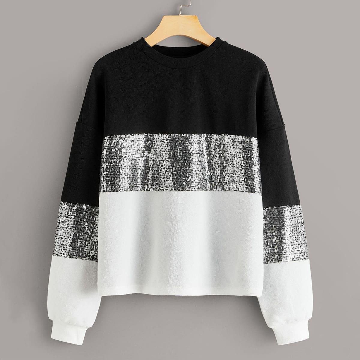Контрастный пуловер с блестками