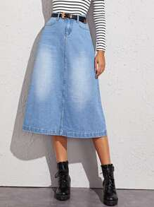 Washed A-line Denim Skirt Without Belted