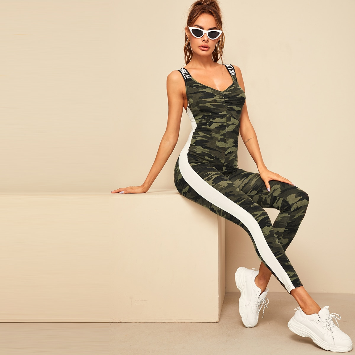 SHEIN coupon: Letter Tape Striped Side Camo Jumpsuit