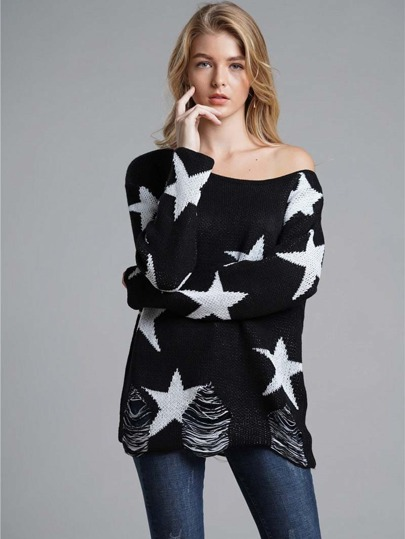 Asymmetrical Neck Star Print Sweater