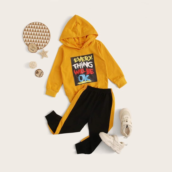 Toddler Boys Slogan Graphic Hoodie With Color-block Sweatpants, Multicolor