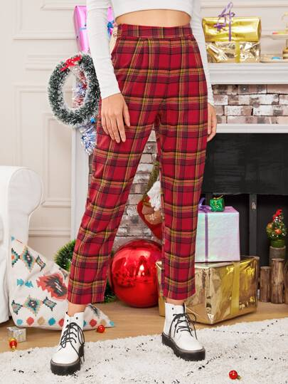 Tartan Cropped New Year Carrot Pants