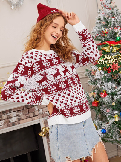Christmas Ugly Print Crew Neck Sweater