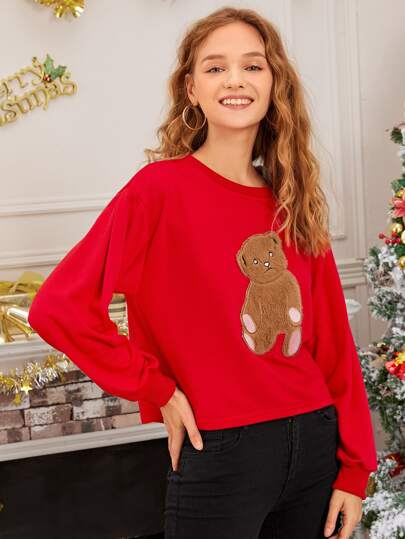 Bear Graphic Crew Neck Red New Year Sweatshirt