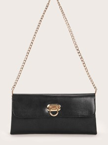 Lizard Shoulder Bag With Chain Strap