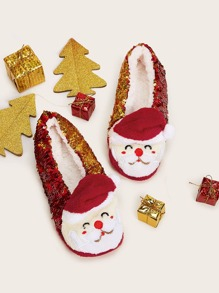 Christmas Design Sequins Decor Slippers