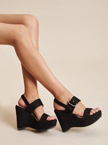 Open Toe Slingback Wedges