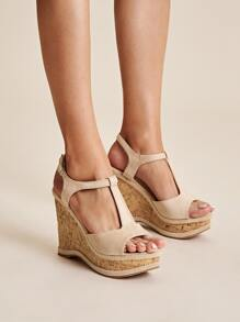 T Strap Open Toe Cork Wedges