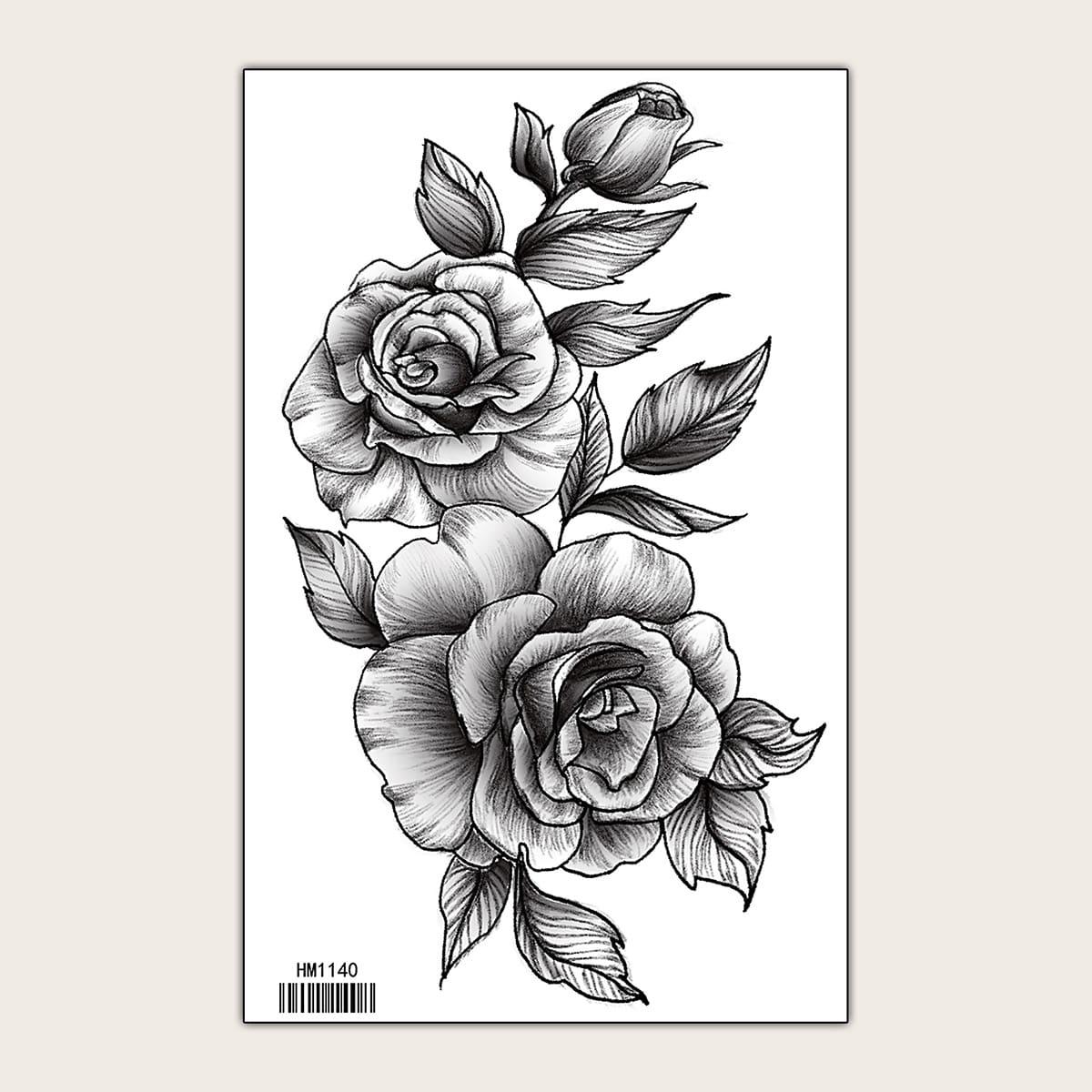 1 feuille Autocollant de tatouage avec motif fleur