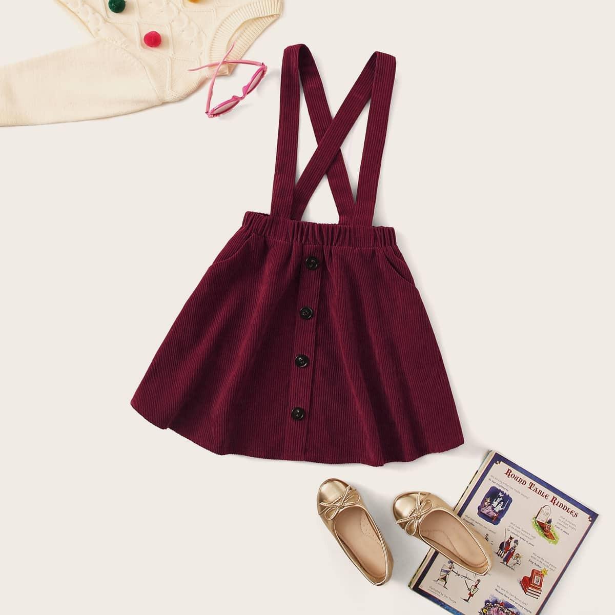 Вельветовая сарафан-юбка с пуговицами для девочек