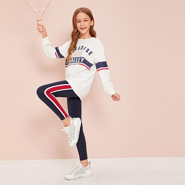 Girls Slogan Graphic Pullover & Side Striped Leggings Set, Multicolor