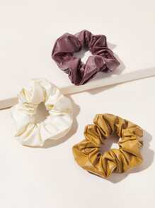 3pcs Simple PU Scrunchie
