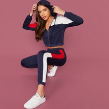 Cut-and-sew Zip Up Hoodie and Contrast Sideseam Joggers Set