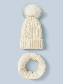 2pcs Christmas Knit Beanie & Ring Scarf