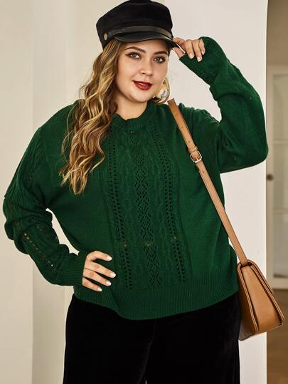 Plus Pointelle Knit Solid Sweater