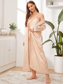 Contrast Binding Satin Belted Robe With Night Dress