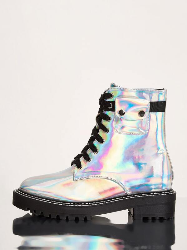 Holographic Lace Up Lug Sole Boots, Multicolor
